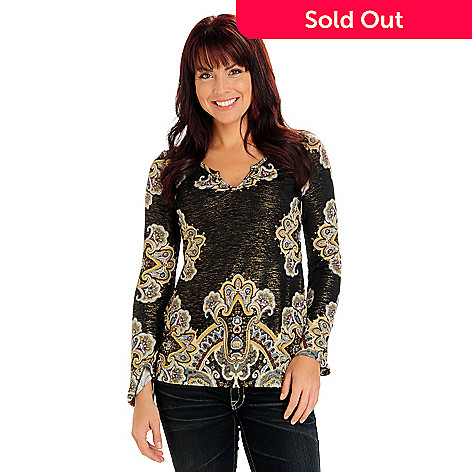 710-810 - One World Long Sleeved Cut Notch Scoop Neck Metallic & Floral Print Top