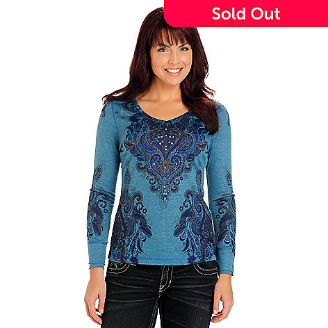 710-812 - One World Long Sleeve V-Neck Stud Accented Printed Top