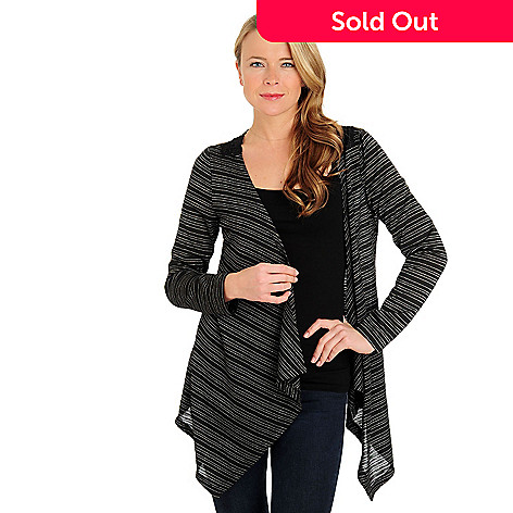 710-816 - One World Long Sleeved Open Front Back Applique Striped Cardigan