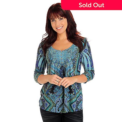 710-817 - One World Sweater Knit 3/4 Sleeved Embellished V-Neck Henley Top