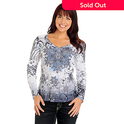710-818 - One World Long Sleeve Stud Accented ''Holiday'' Printed Henley Top