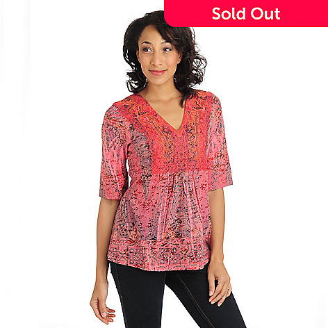 710-823 - One World Print Burnout Knit 3/4 Sleeved Lace Applique V-Neck Top
