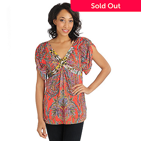 710-824 - One World Flutter Knit Elbow Sleeved Paisley Print Studded V-Neck Top