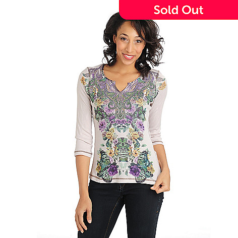 710-825 - One World Rib Knit Mirror Printed Bling Notch Top