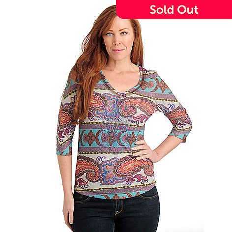 710-827 - One World Stretch Sweater Knit 3/4 Sleeved Bling V-Neck Top