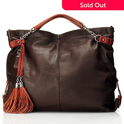 710-829 - Buxton ''Lucca'' Tassel Zip Top Pebbled Leather Hobo Bag
