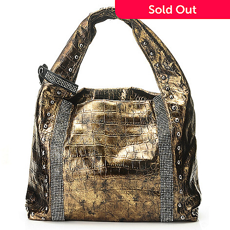 710-840 - Sophisticated Style Reptile Embossed Rhinestone & Stud Detailed Hobo Bag