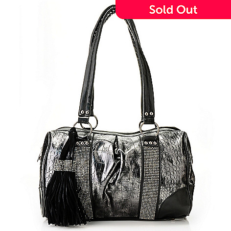710-841 - Sophisticated Style Reptile Embossed Tassel & Rhinestone Detail Satchel Handbag