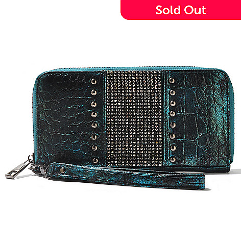 710-842 - Sophisticated Style Reptile Embossed Rhinestone & Stud Detailed Wallet