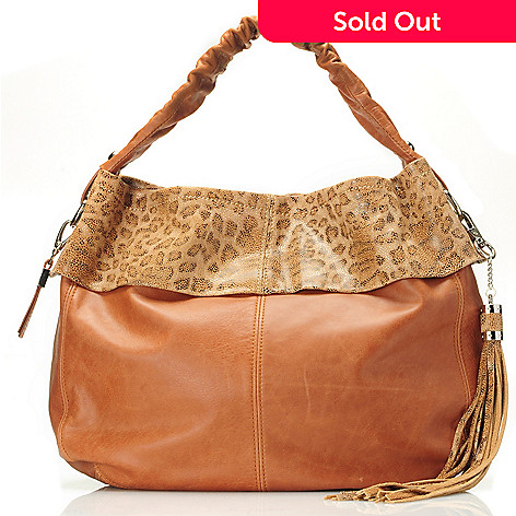 710-847 - Buxton® ''Vittoria'' Leopard Printed Leather Hobo Bag