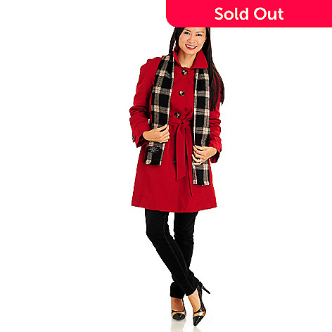 710-971 - London Fog Fully Lined Button Front 3/4 Length Coat w/ Scarf