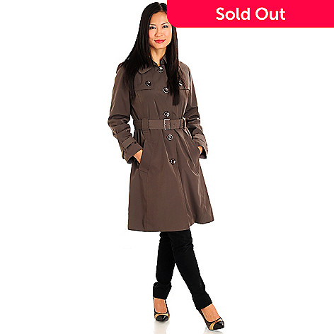 710-974 - London Fog Button Front 3/4 Length Trench Coat