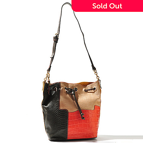 710-978 - B-Collective by Buxton® ''Victoria'' Reptile Embossed Leather Bucket Bag