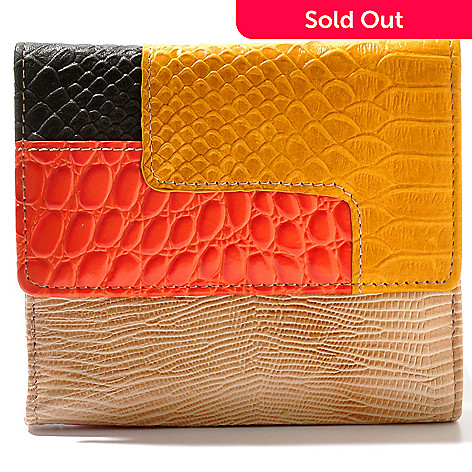 710-980 - B-Collective by Buxton® ''Victoria'' Reptile Embossed Leather Wallet