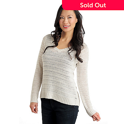 711-007 - Kate & Mallory® Open Stitch Knit Long Sleeved V-Neck Hi-Lo Sweater
