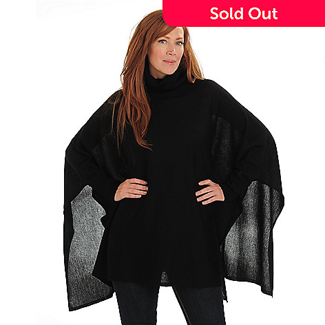 711-009 - Kate & Mallory® Sweater Knit Cowl Neck Ribbed Cuff & Collar Poncho