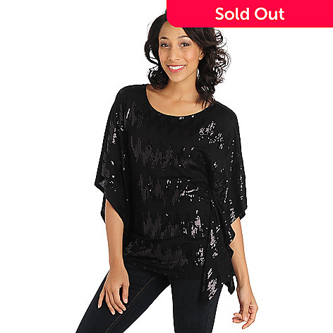711-011 - Glitterscape Stretch Knit Batwing Sleeved Sequin Design Top