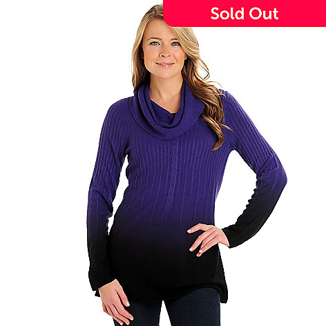 711-013 - Kate & Mallory Cable Knit Cowl Neck Ombre Tunic Sweater