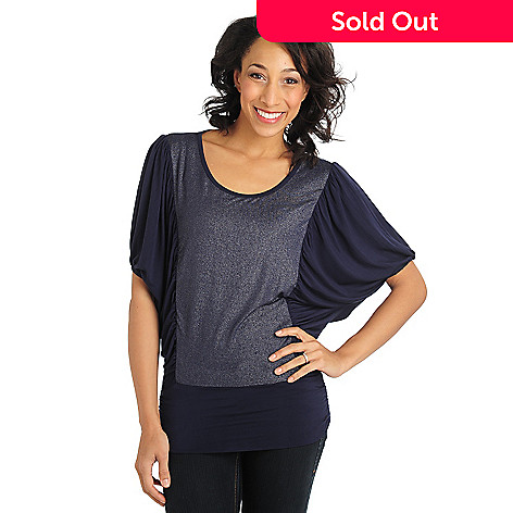 711-018 - Glitterscape Stretch Knit Dolman Sleeved Banded Bottom Scoop Neck Top