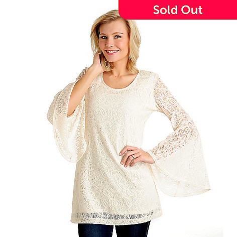 711-025 - Kate & Mallory® Stretch Knit Lace Flared Sleeve Scoop Neck Lined Tunic