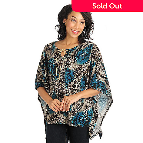 711-027 - Kate & Mallory Sweater Knit Dolman Sleeved Notch Tie-Neck Top w/ Knit Camisole