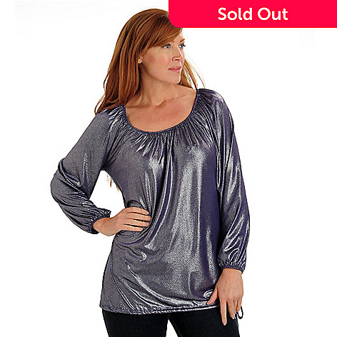 711-028 - Glitterscape® Foil Stretch Knit Round Neck Drawstring Hem Blouson Top