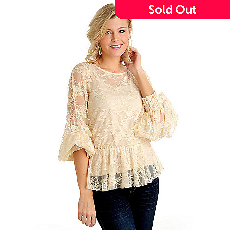 711-029 - Kate & Mallory Stretch Lace Blouson Sleeve Peplum Waist Top w/ Camisole