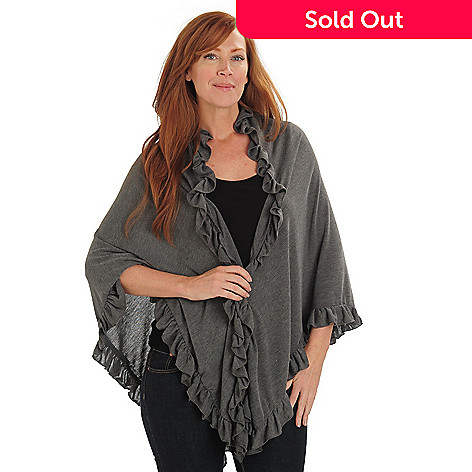 711-033 - Kate & Mallory® Stretch Knit Ruffle Detailed Shawl