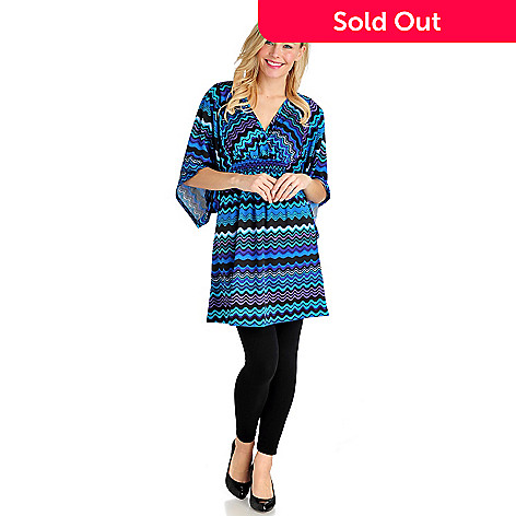 711-038 - Kate & Mallory Stretch Knit Kimono Sleeve Smocked Waist Tunic Dress