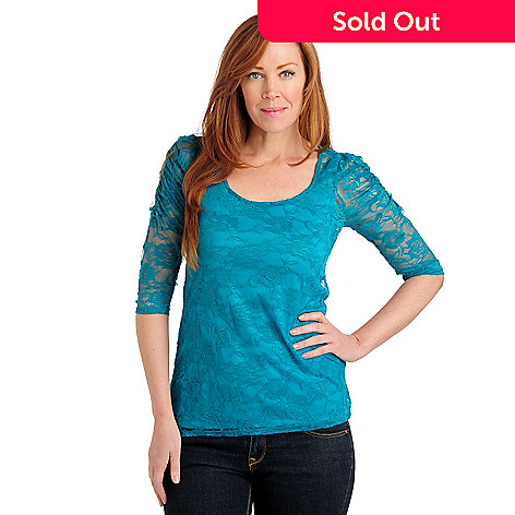 711-039 - Kate & Mallory® Stretch Lace Ruched Sleeve Scoop Neck Top w/ Knit Layer Tank