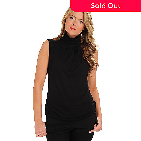 711-053 - Kate & Mallory® Sleeveless Ruched Mock Turtleneck Top