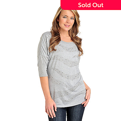 711-056 - Glitterscape Stretch Knit Dolman Sleeved Stud Pattern Top