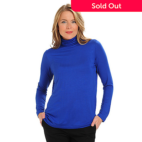 711-059 - Kate & Mallory Stretch Knit Long Sleeved Ruched Mock Turtleneck Top