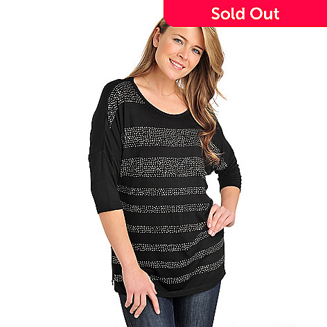 711-060 - Glitterscape® Stretch Knit Dolman Sleeved Rhinestone Stripe Top