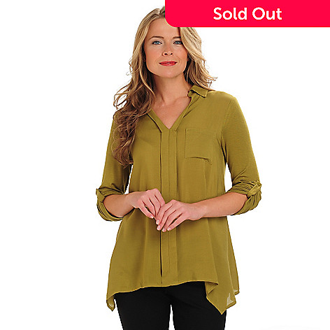 711-062 - Kate & Mallory® Long Sleeved V-Neck Sharkbite Hem Pull-Over Shirt