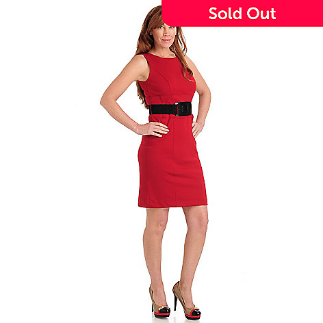 711-063 - Kate & Mallory® Ponte Knit Sleeveless Shift Dress w/ Stretch Belt