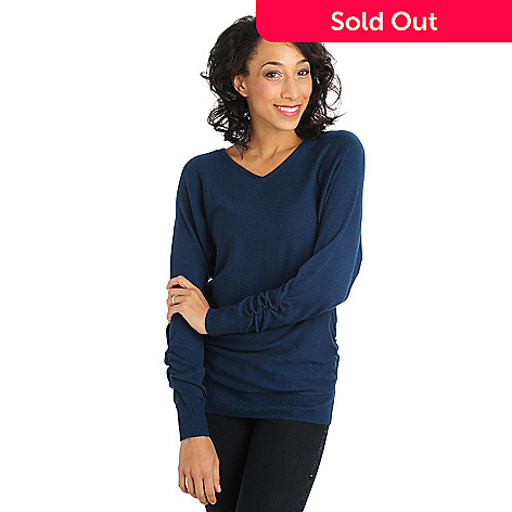 711-068 - Kate & Mallory Knit Ruched Sides Dolman Sleeved V-Neck Sweater
