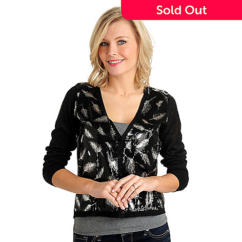 711-072 - Kate & Mallory® Metallic Knit Applique Sequin Front V-Neck Cardigan Sweater