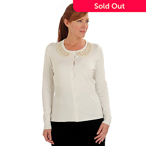 711-073 - Kate & Mallory Fine Gauge Knit Faux Pearl & Rhinestone Collar Button Cardigan Sweater