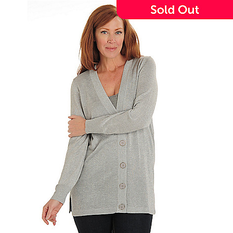 711-074 - Kate & Mallory® Metallic Knit V-Neck Big Button Cardigan Sweater