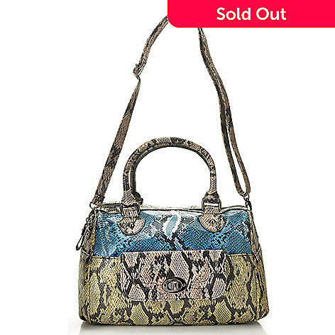 711-075 - Carlos by Carlos Santana Zip Top Cobra Embossed Satchel
