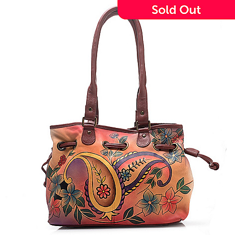 711-085 - Anuschka Hand-Painted Leather Drawstring Satchel Handbag