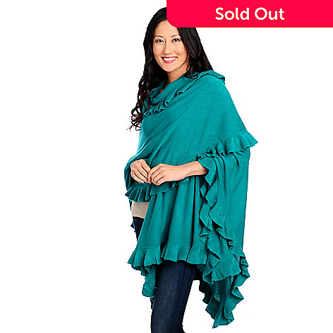 711-087 - Geneology Ultra Soft Ruffle Trimmed Sweater Wrap