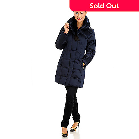 711-088 - Larry Levine Quilted Down Filled 3/4 Length Puffer Coat