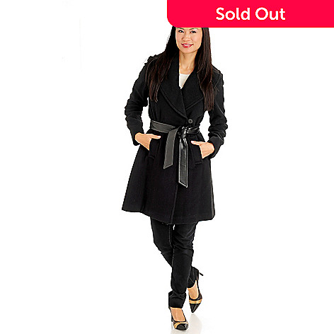 711-090 - Larry Levine One-Button Tie-Front 3/4 Length Wool Wrap Coat