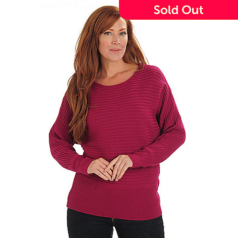711-099 - Kate & Mallory® Metallic Knit Dolman Sleeved Banded Bottom Pullover Sweater