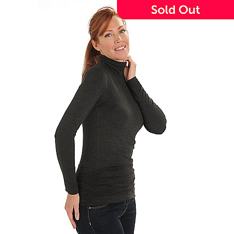 711-101 - Kate & Mallory Jersey Knit Long Sleeved Ruched Turtleneck Tunic