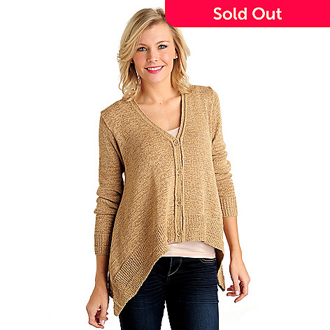711-108 - WD.NY Metallic Tape Yarn Sharkbite Hem V-Neck Cardigan Sweater