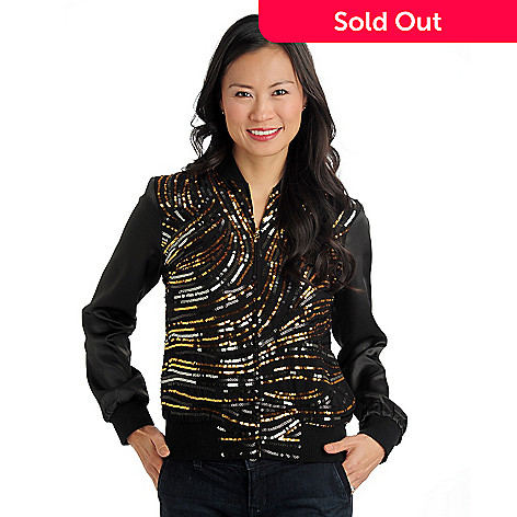 711-112 - WD.NY Woven Long Sleeved Sequined Bomber Jacket