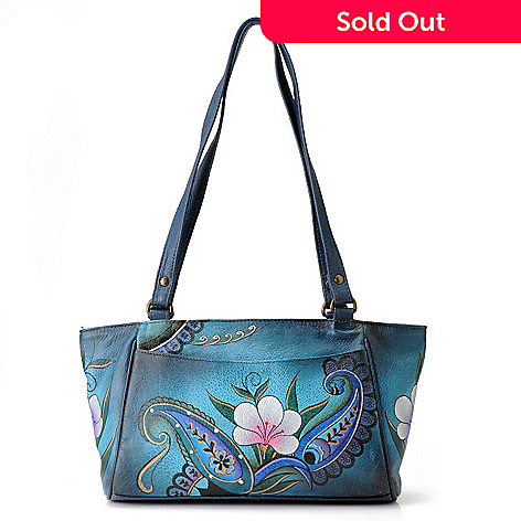 711-116 - Anuschka Hand-Painted Leather Zip Top Small East-West Tote Bag